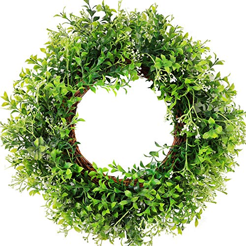 "CEWOR 15"" Artificial Green Leaves Wreath Eucalyptus BoxwoodWreath Spring Wreath for Front Door Wedding Wall Home Decor"