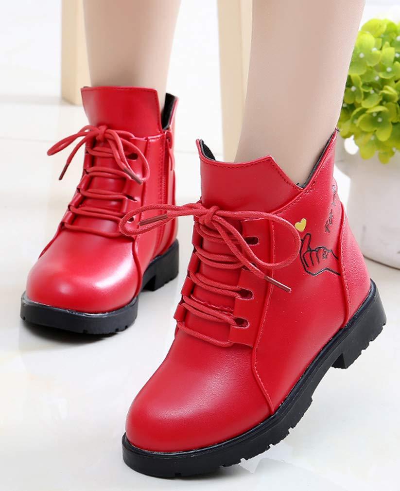 VECJUNIA Girl's Cartoon Ankle Martin Boots Zip Up Shoes School Uniform (Red, 2.5 M US Little Kid) by VECJUNIA (Image #7)