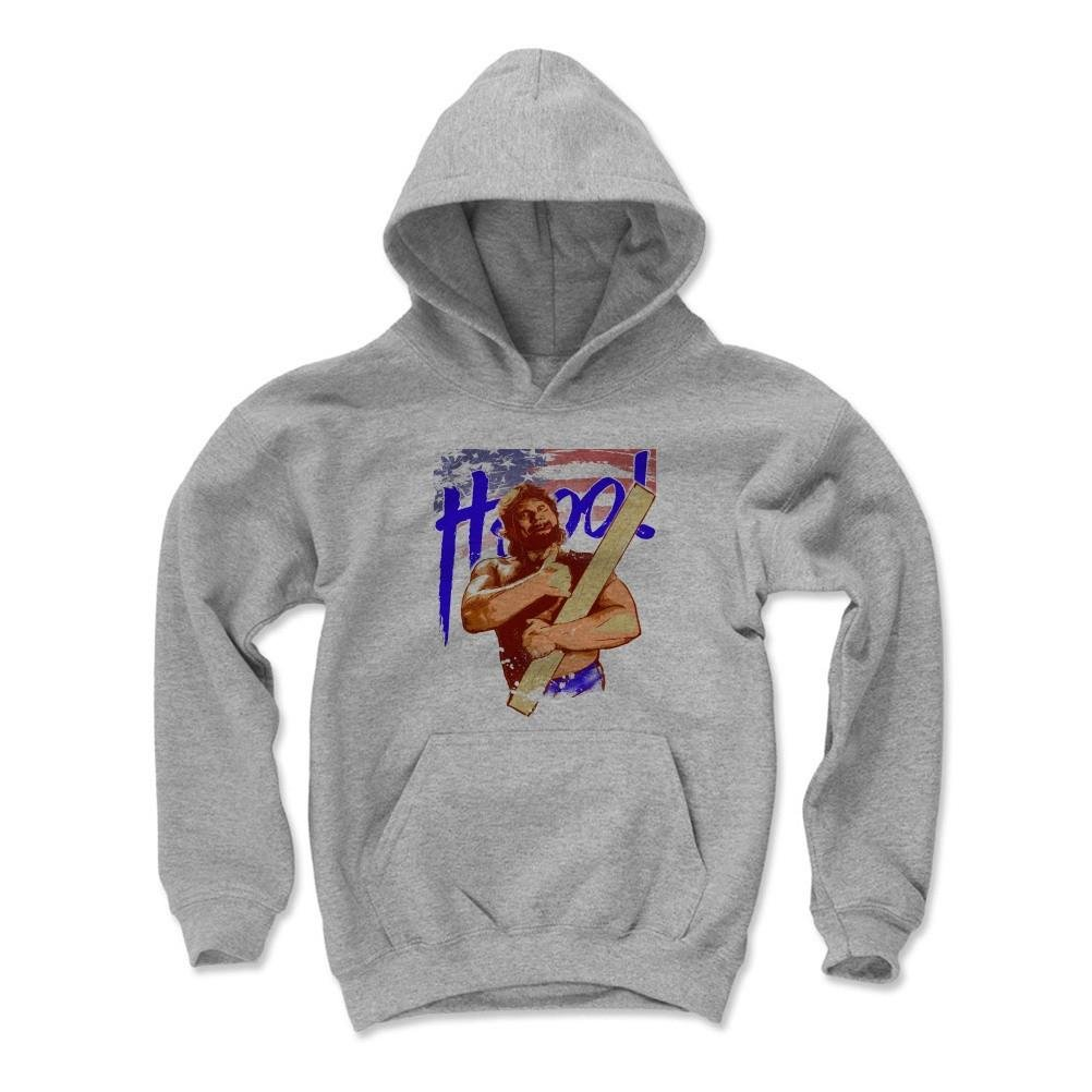 500 Level's Hacksaw Jim Duggan Kids Youth Hoodie M Gray - Hacksaw Jim Duggan Flag B - Officially Licensed by Pro Wrestling Tees by 500 Level