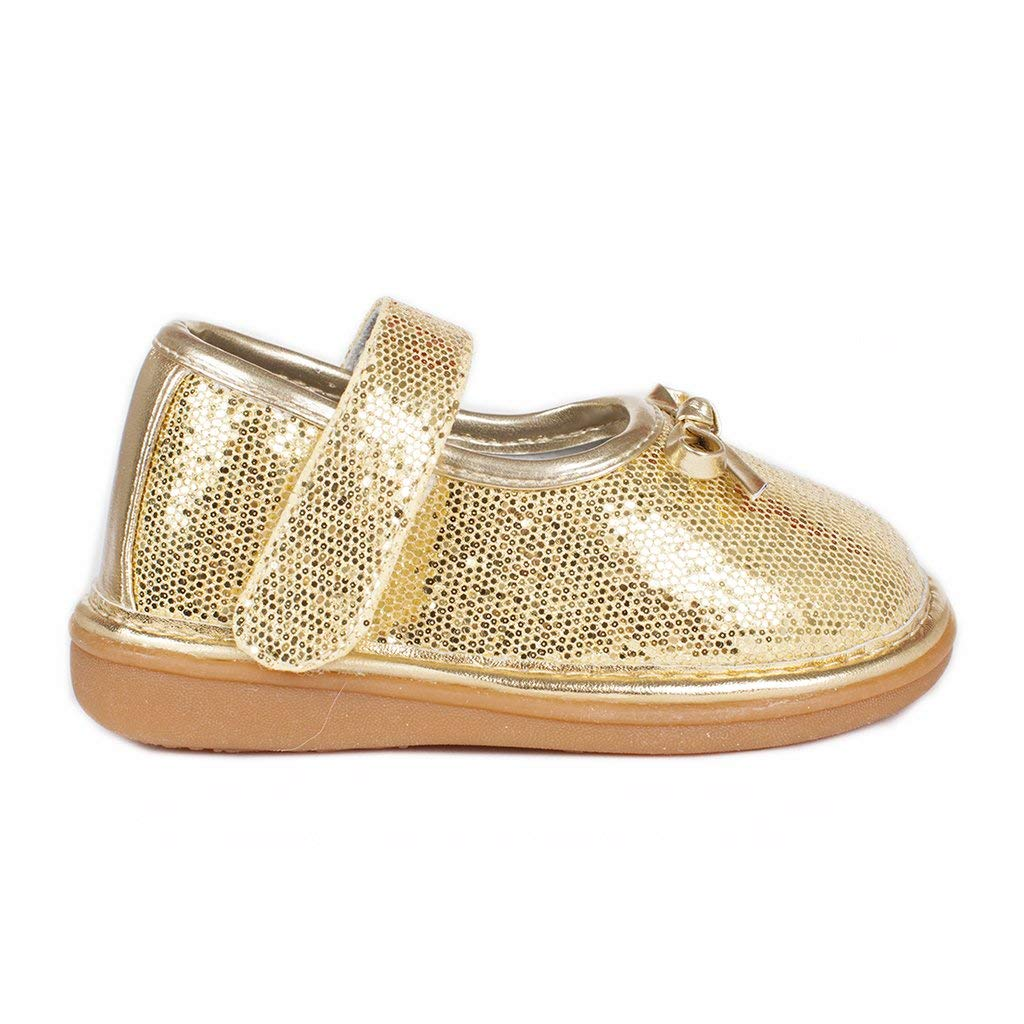 Wee Squeak Beauty Gold Bow Toddler Squeaky Shoe