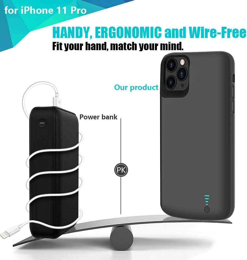 Black Support Wire Headphones RUNSY Battery Case for iPhone 11 Pro 5000mAh Rechargeable Extended Battery Charging Case Add 120/% Extra Juice External Battery Charger Case