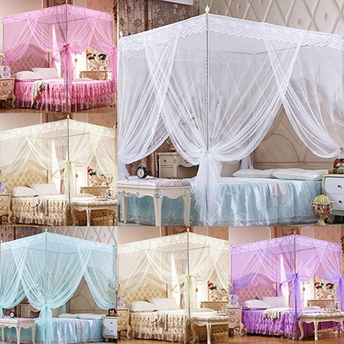 WskLinft Romantic Princess Lace Canopy Mosquito Net No Frame for Twin Full Queen King Bed - White Twin from WskLinft