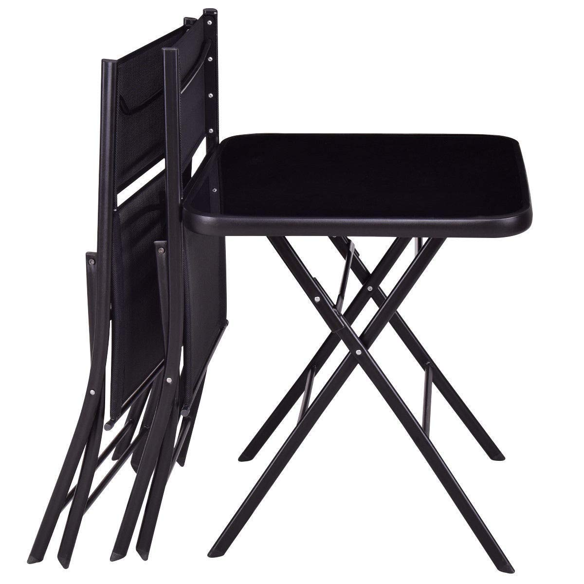 GHP Set of 3 Black Steel Textile Fiber & Tempered Glass Top Folding Table w 2-Pcs Chairs by Globe House Products (Image #3)