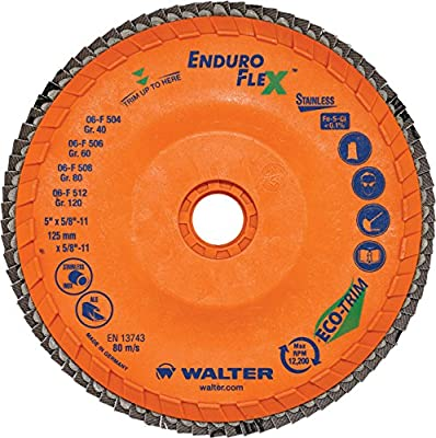 "Walter Surface Technologies 15Q458 Enduro-Flex Stainless Abrasive Flap Disc, Type 29, 80 Grit, 7/8"" Arbor, Trimmable Wood Fiber Backing, Zirconia Alumina (Pack of 10)"