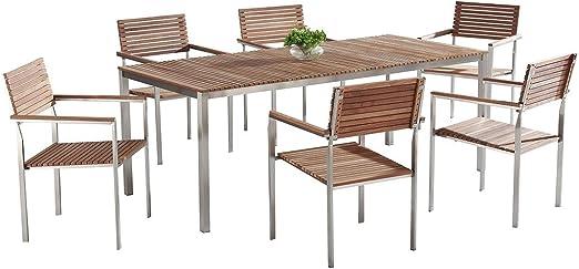 Mesa de madera y acero 200 x 90 cm - Comedor para jardín - 6 Sillas - VIAREGGIO: Beliani: Amazon.es: Hogar