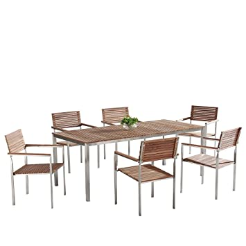 Table de jardin et 6 chaises acier inox plateau teck marron ...