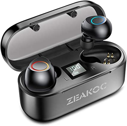 Amazon Com Zeakoc True Wireless Earbuds Tws Stereo Bluetooth 5 0 Headphones With Professional Audio Chipset Cvc8 0 Noise Cancelling In Ear Earphone Ipx5 Waterproof 40h Playtime Sports Earpiece With Charging Case Home Audio Theater