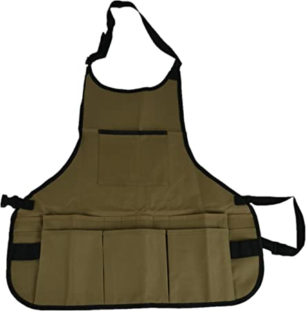 Garden Tool Apron,Waterproof Aprons Grilling Tools Gardening Apron with Tool Pockets and Adjustable khaki