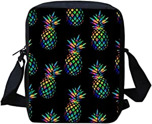 HUGS IDEA Hawaii Pineapple Pattern Womens Crossbody Cell Phone Bags Pouch with Back Pocket Mini Messenger Purse Cell Phone Organizer