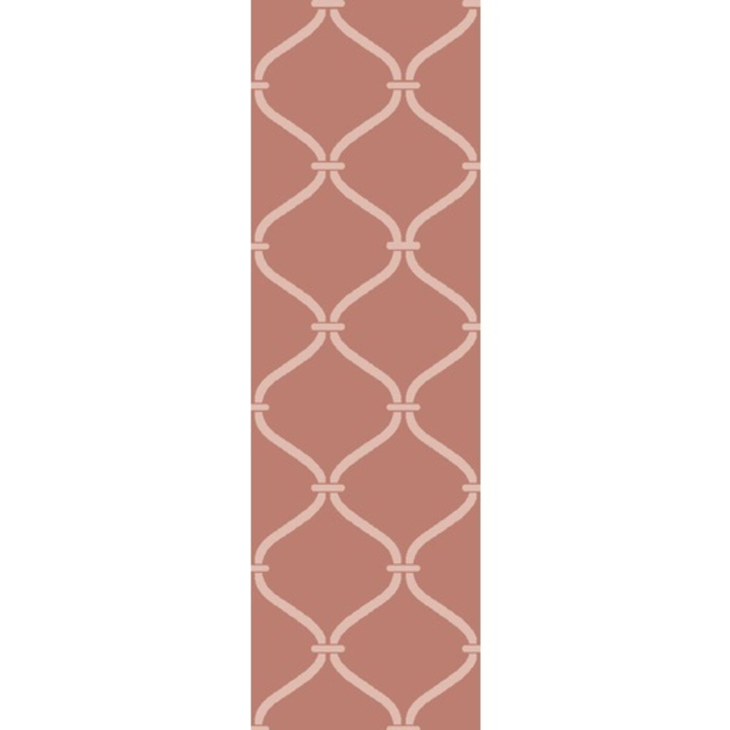 2.5' x 8' Egyptian Windows Faded Coral and Ivory White Area Throw Rug Runner