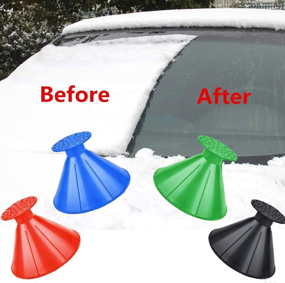 Leaflai Round Windshield Ice Scrapers Car Snow Removal Shovel Tool Magic Cone-Shaped Car Windshield Ice Scrapers