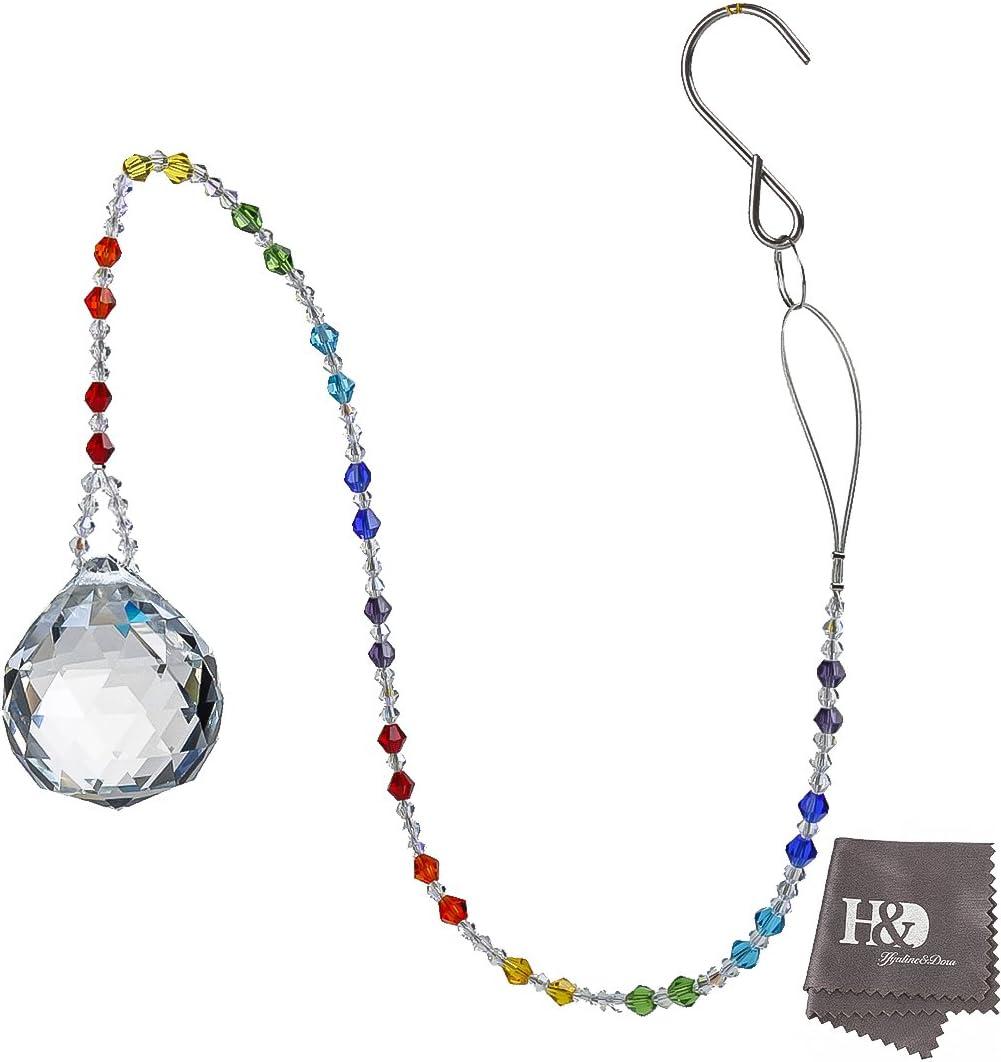 H/&D Prismes de Boule de Cristal Clair de 40 mm avec Fen/être Suspendue Rainbow Suncatcher avec Cha/îne de Perles Chakra de 22 Pouces de Long