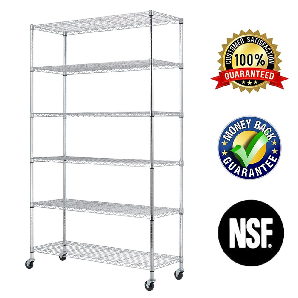 6 Tier Wire Shelving Rack,Steel Shelf 48'' W x 18'' D x 82'' H Adjustable Storage System with Casters/Wheels and Feet Levelers,Garage Shelving Unit, Storage Shelving Rack,Kitchen/Office Rack (Chrome)