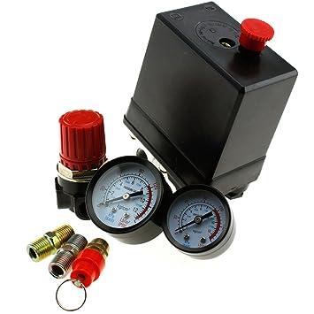 Compresor de aire Presostato trifásico Presostato Válvula de control con el regulador de aire y soupage y calibre: Amazon.es: Hogar
