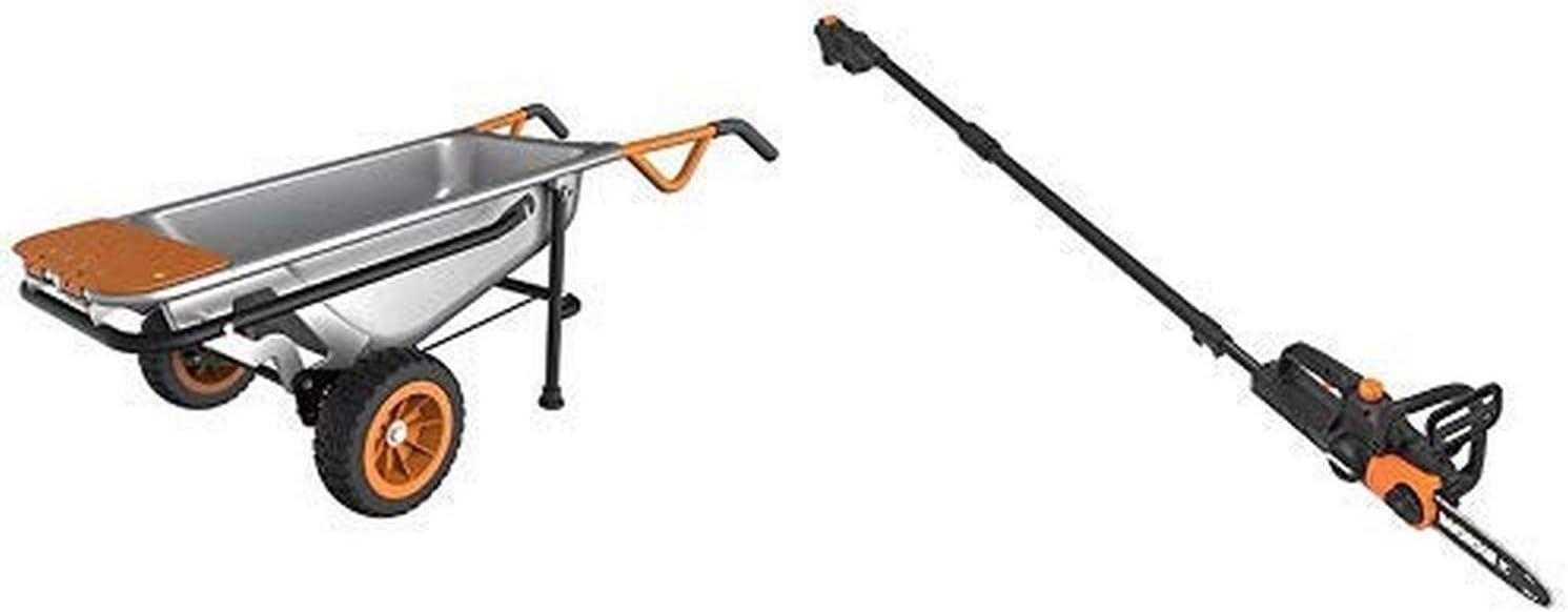 WORX WG050 Aerocart 8-in-1 All-Purpose Wheelbarrow/Yard Cart/Dolly, 18