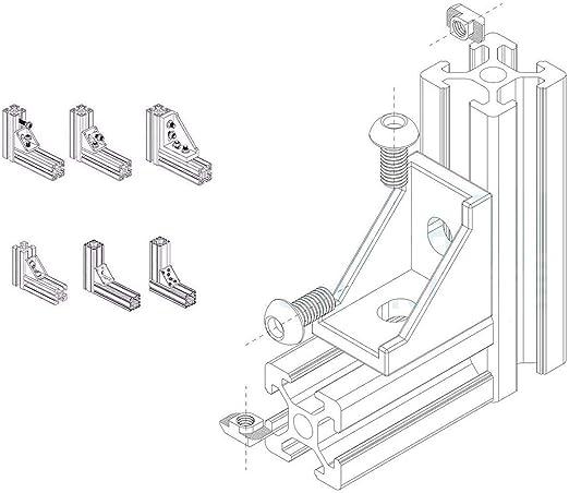 40/pi/èces m5/x 10/mm chevilles coulissantes xzante 2020/aluminium Connector Set 40/pi/èces m5/x 10/mm Six Pans Creux Vis Boulons pour 6/mm slot aluminium profil acc 20/pi/èces Angle Support