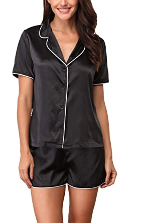 Giorzio Women s Short Pajamas Satin Loungewear Short Sleeved PJ Set ... 1b47387c6