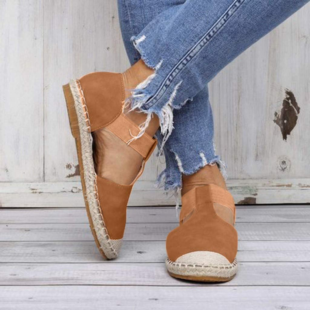Women's Foreign Trade Large Size Retro Wind Flat Sandals Women's Fashion Round Head Casual Shoes Brown by Lloopyting (Image #2)