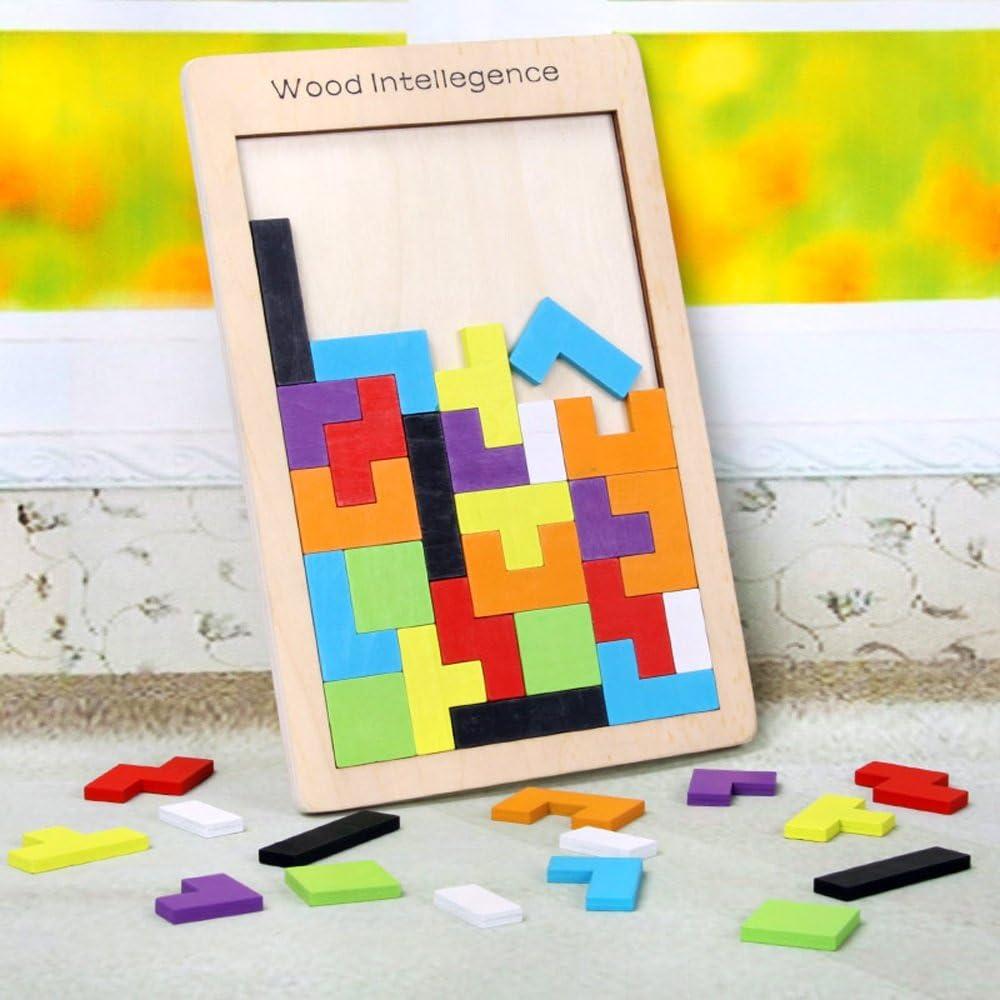 Siyushop Madera Tetris Jigsaw Puzzle Trailer Toy Blocks Juego Color Wood Puzzle Smart Niños Educación Regalos (Color : A) : Amazon.es: Juguetes y juegos