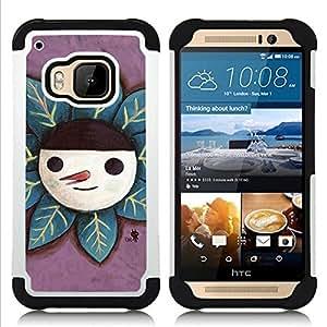 - Cute Happy Snowman/ H??brido 3in1 Deluxe Impreso duro Soft Alto Impacto caja de la armadura Defender - SHIMIN CAO - For HTC ONE M9