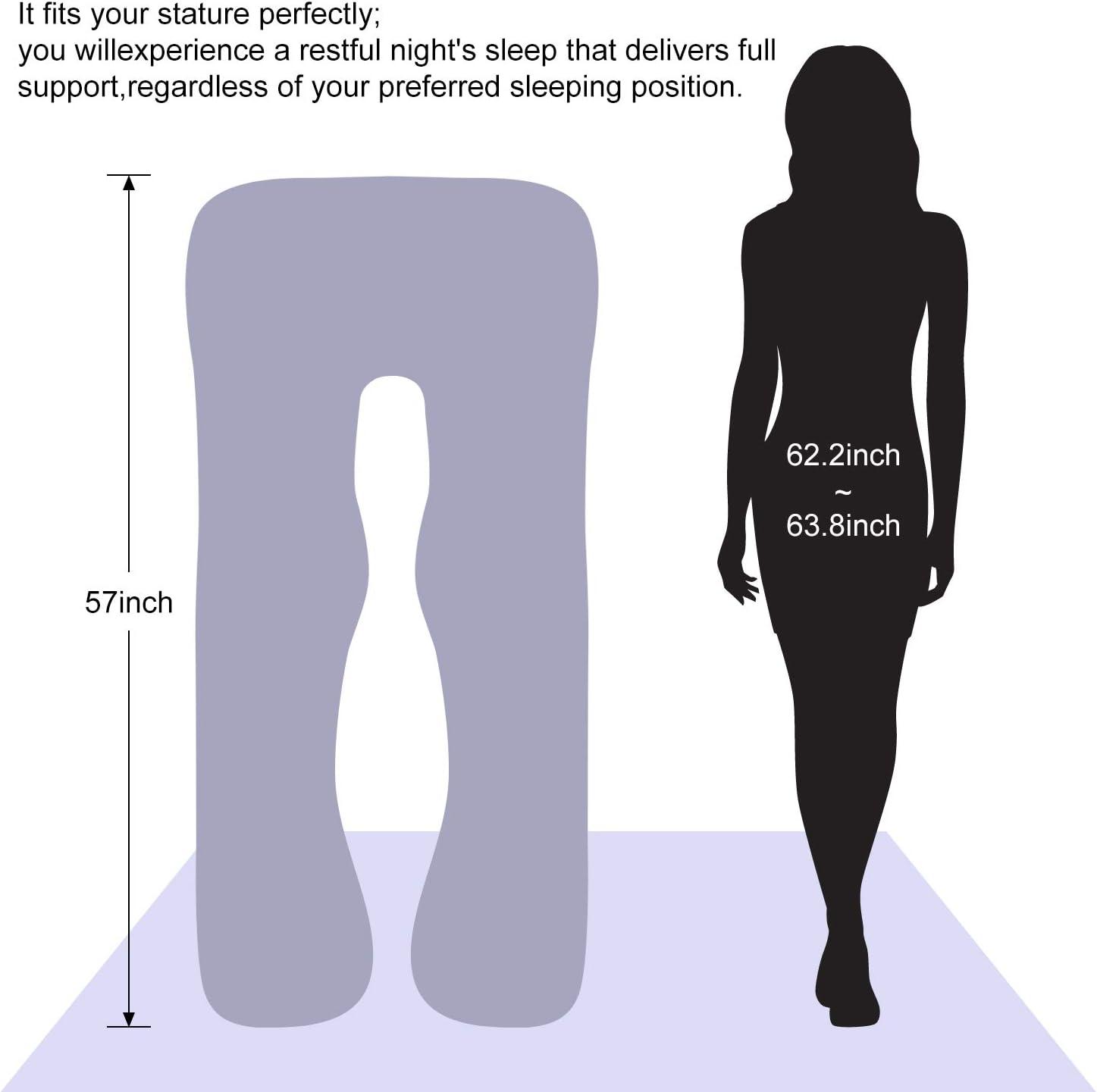 Victostar Almohada para el embarazo Almohada de maternidad de cuerpo completo en forma de U para mujeres embarazadas con funda lavable Premium Tama/ño 57