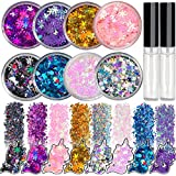 8 Jars of Cosmetic Chunky Glitter Shimmer Body Face Hair Eye Musical Festival Carnival Dance Halloween Party Beauty…