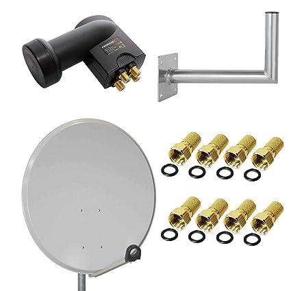 PremiumX Digital SAT Anlage 80 cm Stahl Sch/üssel Spiegel Antenne Ziegelrot Quad LNB PXQS-SE 0,1dB f/ür 4 Teilnehmer 8 F-Stecker 7mm vergoldet