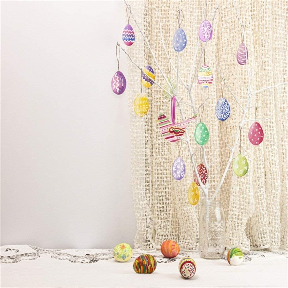 CdHBH 8x8ft Vinyl Photography Backdrop Happy Easter Painted Eggs White Tree Branch Vase Nostalgia Curtain White Interior Photo Background Children Baby Adults Portraits Backdrop