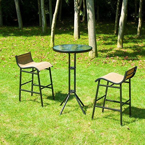 Outsunny 3 pc Outdoor Patio Pub Bistro Table & Chairs Set by Outsunny (Image #2)