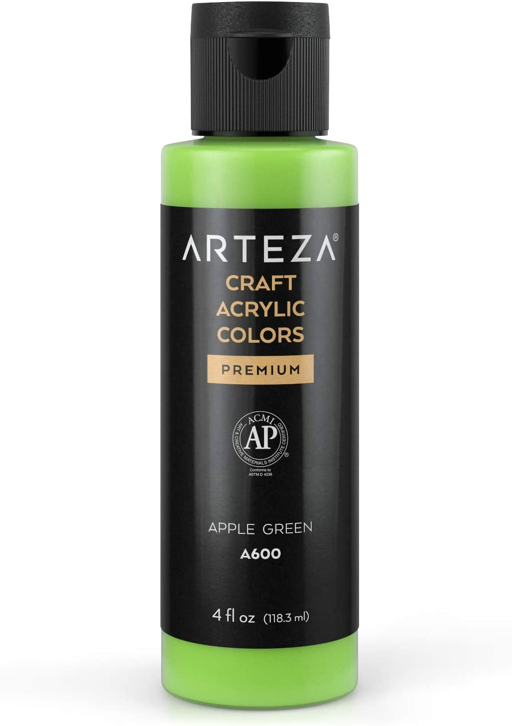 Arteza Craft Acrylic Paint, A600 Apple Green, 4fl oz (118 ml) Bottles, Water-Based, Blendable, Matte Acrylic Paints for Art & DIY Outdoor Projects on Glass, Wood, Ceramics, Fabrics, Paper & Canvas
