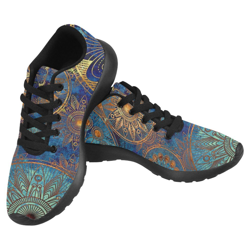 InterestPrint Women's Jogging Running Sneaker Lightweight Go Easy Walking Casual Comfort Running Shoes Size 8 Circles Floral Ornament in Blue, Orange and Gold Colors