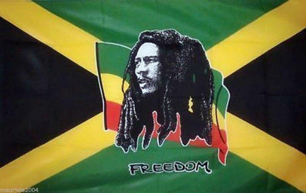 Bandera Bob Marley Freedom 140x 90cm. Rasta Reggae Flag Freedom Rock TG