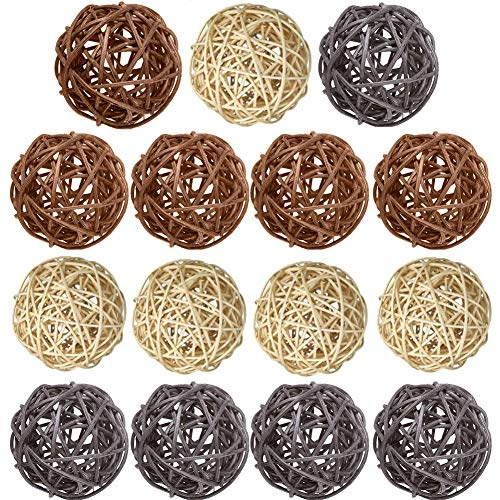 Wicker Rattan Balls 15 Pcs Decorative Multiple Color Orbs Natural Spheres Vase Fillers for DIY Craft, Party, Wedding Table Decoration, Baby Shower, Aromatherapy Accessories- Natural Brown Gray (Rattan Lights Ball Diy)