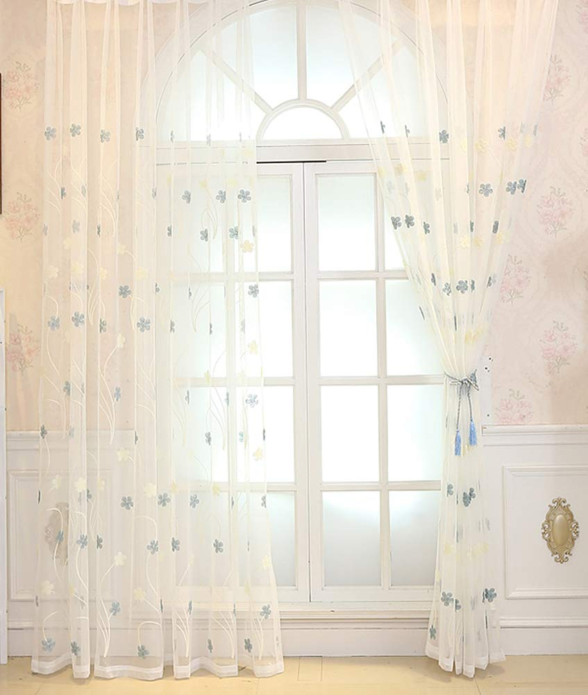 Aside Bside Sheer Curtains Cute Style Rod Pockets Five Petal Embroidered Voile Panels Home Treatment Child Room Houseroom Kitchen (1 Panel, W 50 x L 63 inch, Blue)