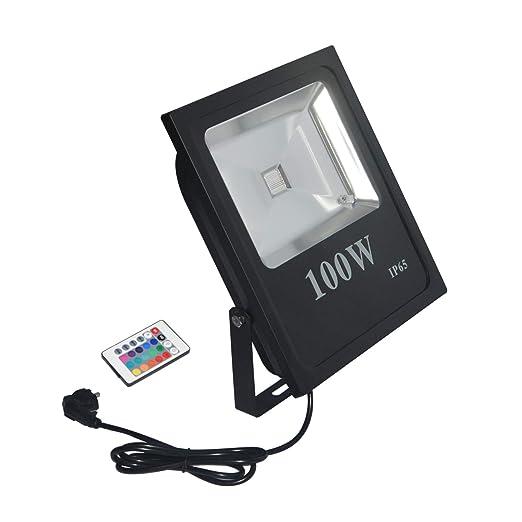 RSN LED 100 W Foco RGB con Mando a distancia exterior Leuchten ...