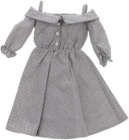 ミニ ワンピース スカート 人形服 1/3ドール ドレス 人形飾り チェック柄 ショルダーストラップ