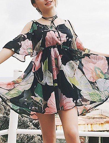 nbsp;– da nbsp;Stampa chiffon abito M Dress SHAUIGUO stile donna borchie vintage con formale floreale sera da TUxAFa7