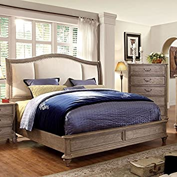 norco ii transitional style rustic weathered oak finish eastern king size bed frame set - Eastern King Bed Frame