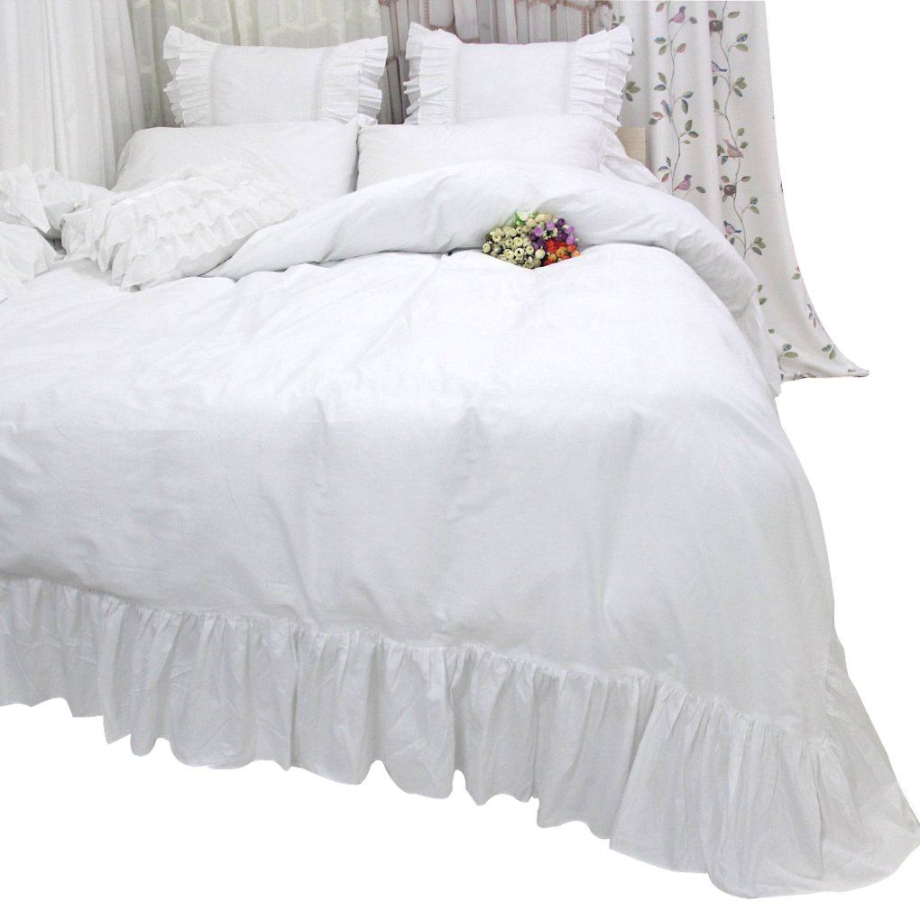 Queen's House White Ruffles Duvet Cover Bed Set-Twin Size,Mermaid Ruffles by Queen's House