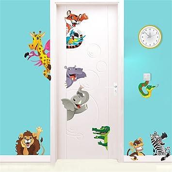 Rainbow Fox Tier Zoo Wandaufkleber Tier von Elefant Affe L/öwe Krokodil zum Kinder Zimmer oder Kindergarten Dekoration