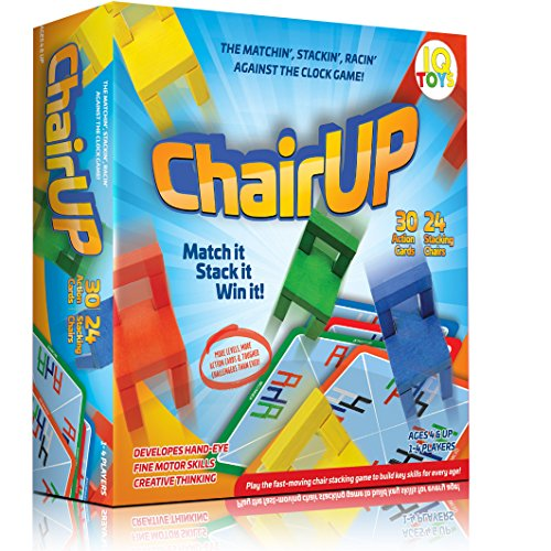 ChairUP! - The Matching, Stacking, Racing and Balancing - Family Game - Includes 24 Bright Colored Wooden Chairs; 1-4 - Chair Stacking Game