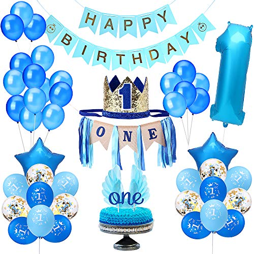 Party 1st Birthday Boy Decorations | Includes High Chair Burlap Decoration Supplies Set, First Royal Prince Boy Crown Hat, Happy Birthday Banner, ONE Cake Topper, Angle Wings Cake Flag, Confetti Marble Foil and Latex Balloons (Best Birthday Cakes For Boys)