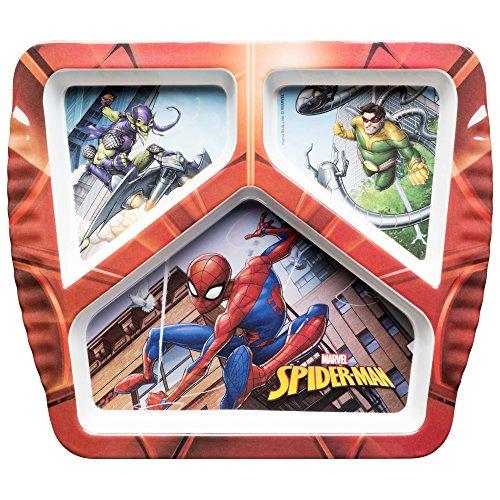 (Zak Designs SPIO-0010-D Marvel Comics Kids Divided Plates, SpiderMan)