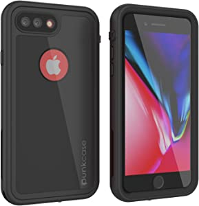 "Punkcase iPhone 8 Plus Waterproof Case [Rapture Series] Protective IP68 Certified Full Body Cover W/Built in Screen Protector for iPhone 7 Plus (2016) & iPhone 8 Plus (2017) (5.5"") (Shiny Black)"