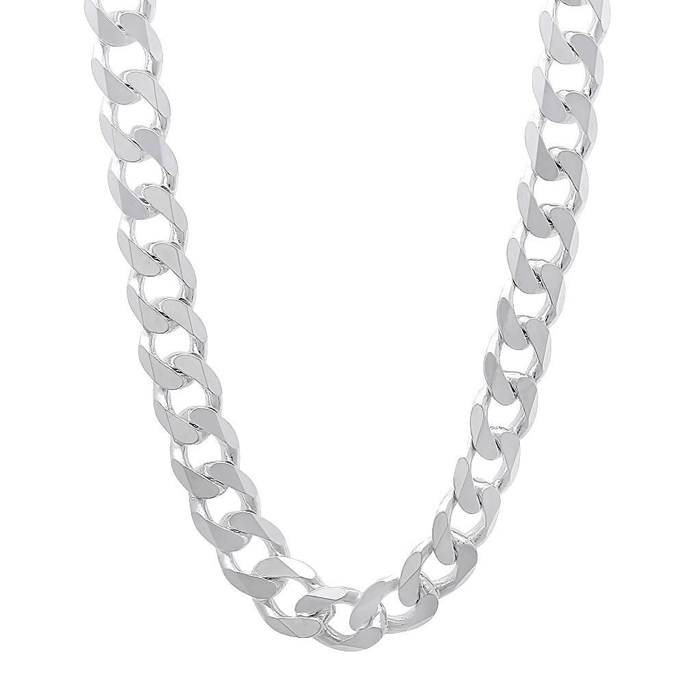 Italian 6.5mm 925 Sterling Silver Nickel-Free Beveled Cuban Curb Link Chain, 24'' + Cleaning Cloth