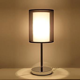 SPARKSOR Tischlampe Nachttischlampe, Chrom Und Stoffschirm Licht Für  Schlafzimmer, Wohnzimmer, Babyzimmer, Studentenwohnheim