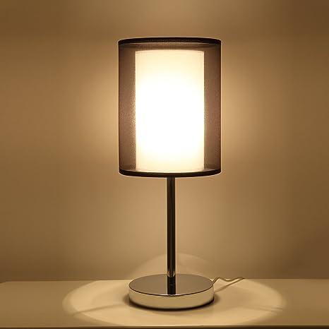 Sparksor - Lámpara de techo, cromada mate, pantalla de tela ...