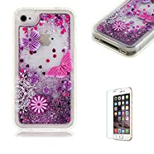 iPhone 4/4S Case [with Free Screen Protector],Funyye Flowing Liquid Quicksand Stars Bling Glitter Sparkles Shinny Colourful Printed Design Transparent Soft TPU Rubber Silicone Gel Clear Crystal Back Skin Cover Case for Apple iPhone 4/4S - Butterfly Flower