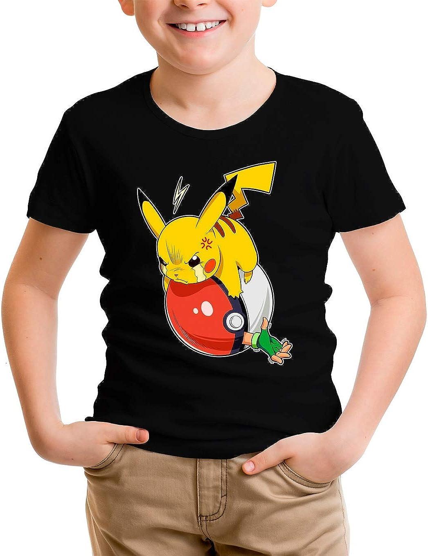 Parodia Pok/émon Ref:997 Maglietta per Bambini e Ragazzi Nera Pok/émon umoristico con Ash Ketchum e Pikachu