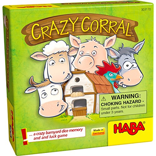 - HABA Crazy Corral - A Barnyard Themed Pocket Sized Dice Memory and Luck Game for Ages 4+ (Made in Germany)